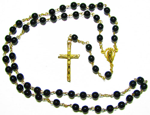 Black Glass Rosary - RB2