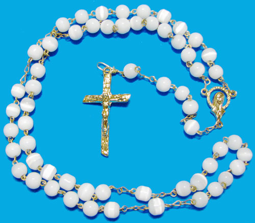 Cat's Eye Rosary, White, Gold Plated - RW3