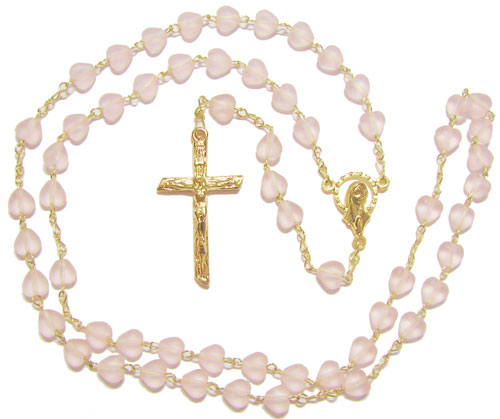 Glass Rosary Style Heart with Gold Plate - RP3