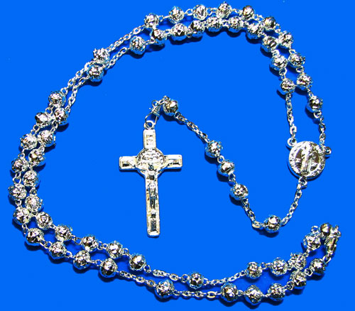 Silver Rosary with Rose Beads - RS1