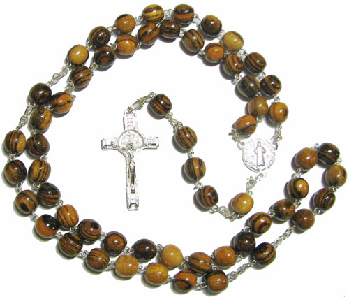 St. Benedict Rosary with beautiful Wood beads - RW51